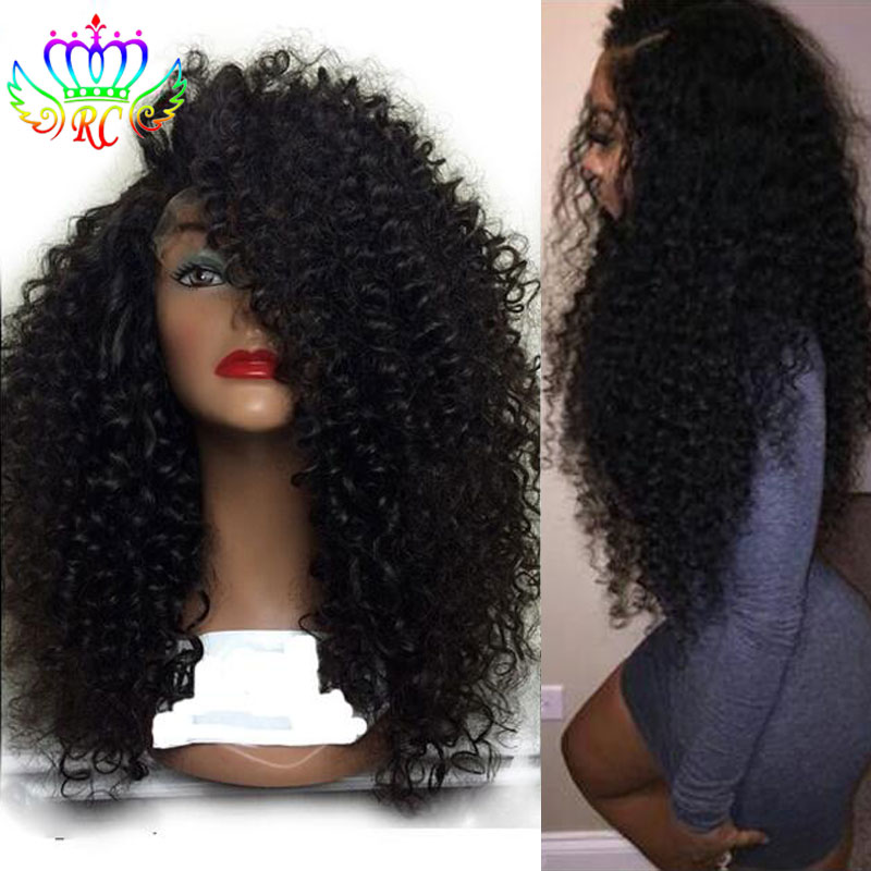 Side Part Synthetic Half Wigs for Black Women Kinky Curly Lace Front Wig  with Baby Hair Afro Synthetic Hair Wigs Free Shipping ebd6359b0