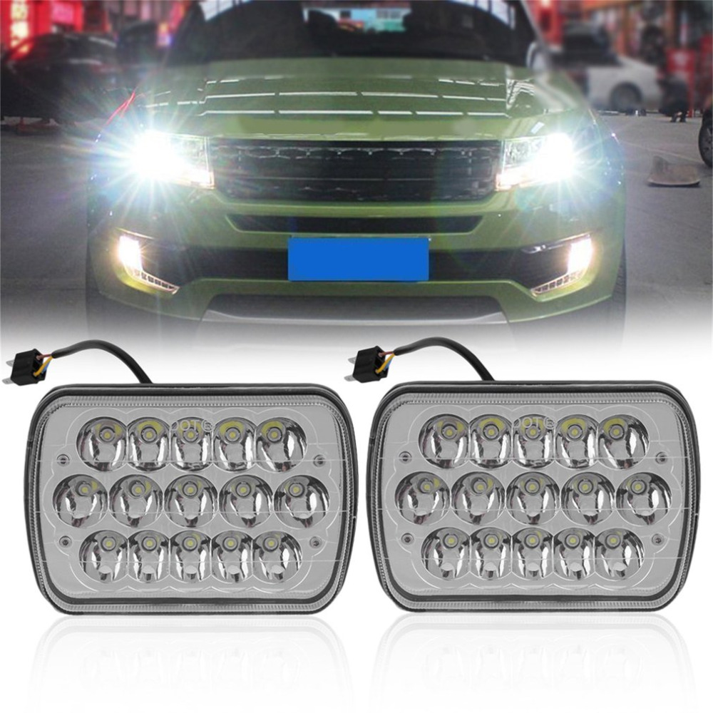 New LED Car External Headlight 45W 6000K White Automobile Headlamp Waterproof 7x6 LED Car Headlights HID Light Bulbs Headlamp