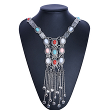 Chic Bohemian Long Tassel Necklaces for Women Boho Gypsy Coin Turquoise Statement Necklaces & Pendants Fashion Turkish Collier