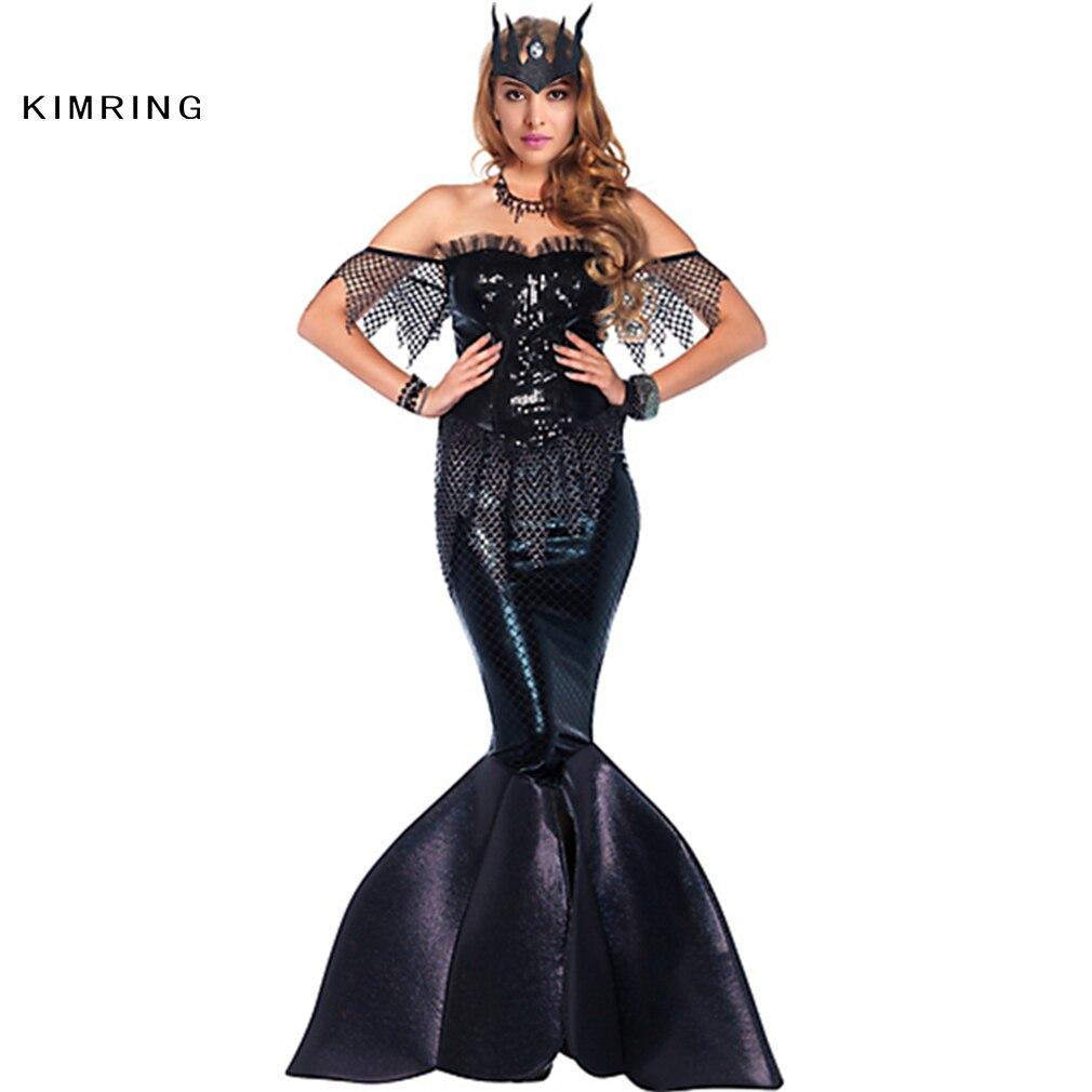 Kimring Black Sequin Mermaid Formal Party Dress Halloween