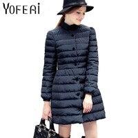 YOFEAI 2017 Down Coat Long Style Women Jacket Autumn Winter Bowknot Cotton Outwear Parka Warm Slim
