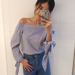 2017 plus size women sexy blouses slash neck off shoulder bow long sleeve casual tops shirts.jpg 250x250