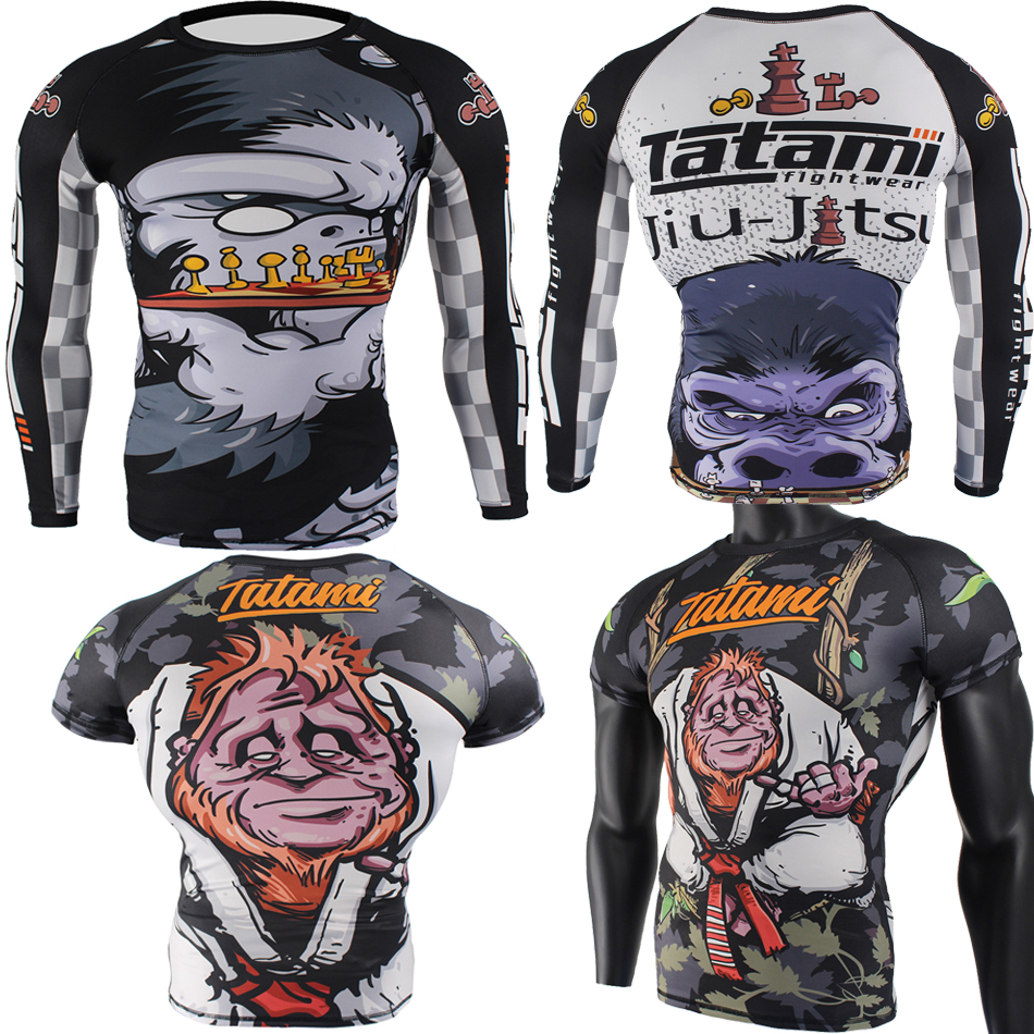 Jiu Jusit Rashguard MMA T-shirt Men Muay Thai T-shirts MMA Survival Boxing Jerseys Kickboxing Sweatshirt Fitness Sauna Gym Tee