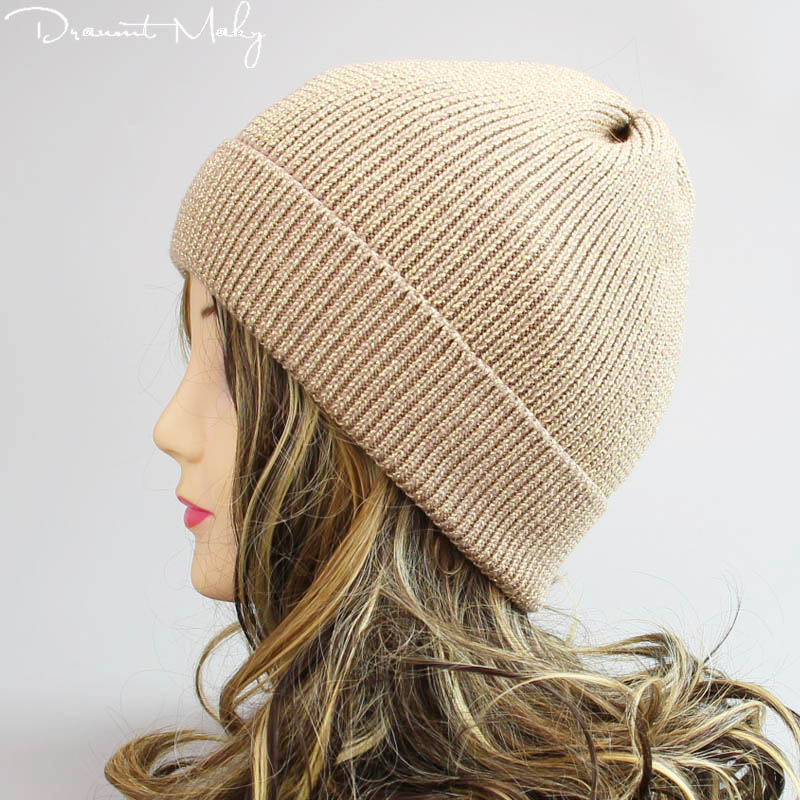 2019 Fashion Gold and silver wire Winter Hat fur cap pompom hat for women cashmere cotton hat Real Raccoon fur   Skullies     Beanies
