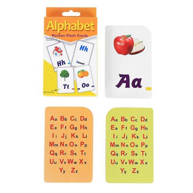 Azul/rojo 52 unids/caja tarjetas de papel recubiertas inglés carta de aprendizaje para niños juguetes educativos para niños montessori