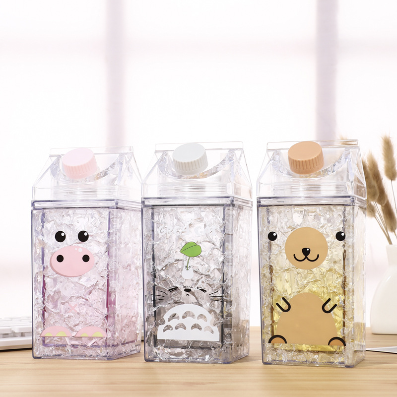 Yooap Cute Cartoon Creative Hip Flask Sports Outdoor Bottle BPA Free Water Bottle Crushed Ice Crystal Water Bottle Milk Kettle in Water Bottles from Home Garden