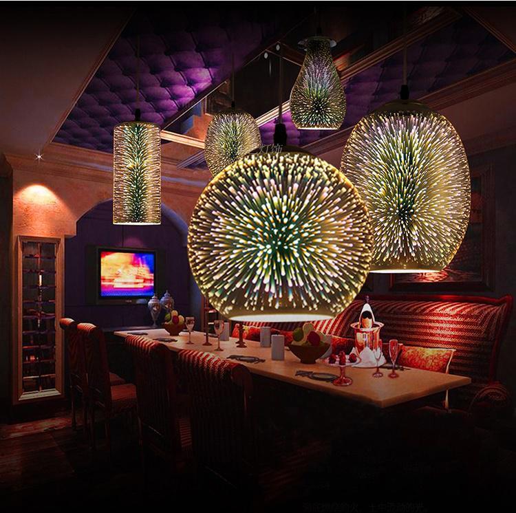 Современные светодиодные красочные покрытием 3D стекло подвесной светильник зеркало стеклянный шар абажур для ресторана кафе-бар столовая ...