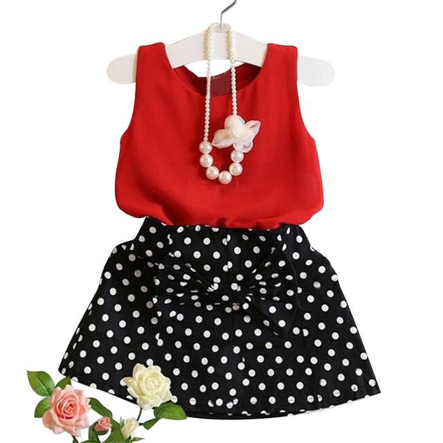7f21f97d93 2018 caliente verano chaleco + falda de dos piezas Niño Conjuntos de Ropa  niños moda Niñas