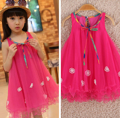 2016 New Beautiful Kids Girls Clothes Dresses Sleeveless Bow Summer Cool Floral Birthday Party Dress Beach 2 3 4 5 6 7 Years populous baby kids girls clothes princess black short fashion summer cool solid partytulle dresses 2 3 4 5 6 7 years