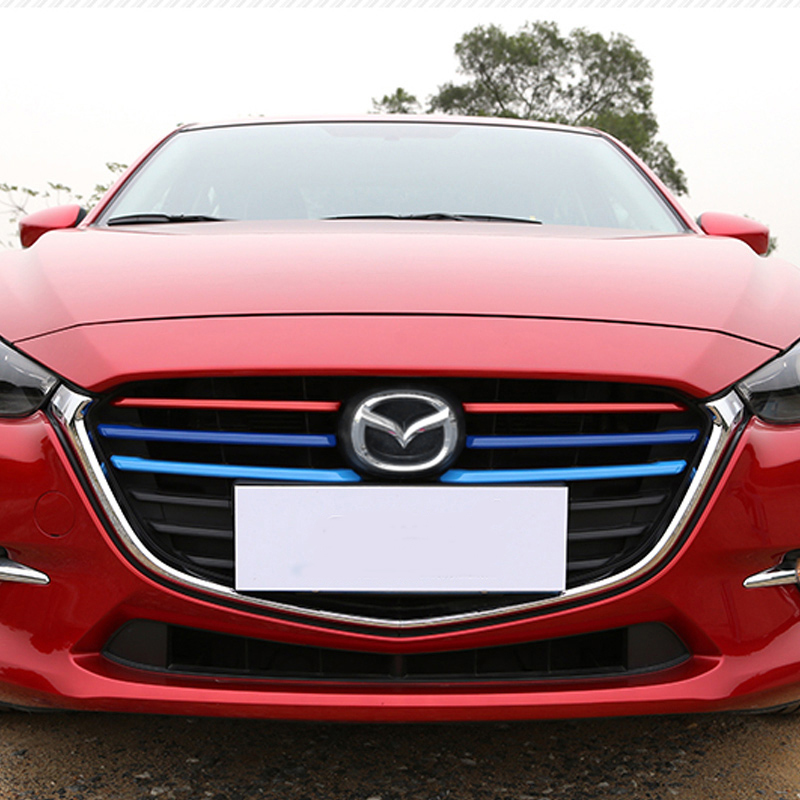 KOUVI ABS Chrome Front Grille Decoration Cover Trim Molding Garnish Stickers Case For Mazda 3 BN Axela M3 2017 2018 accessories