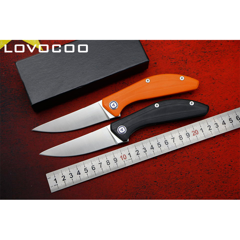 LOVOCOO SIGMA good quality D2 blade G10 handle Flipper folding knife Outdoor camping hunting pocke knives EDC tools Survival green thorn made dark flipper folding knife d2 titanium blade g10 handle outdoor survival hunting camping fruit knife edc tools