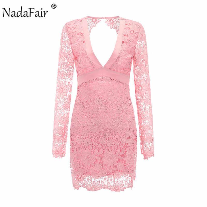Nadafair сексуальное кружевное платье с открытой спиной и глубоким v-образным вырезом, женское черное, розовое, с вышивкой, с длинным рукавом, элегантные летние платья для вечеринок