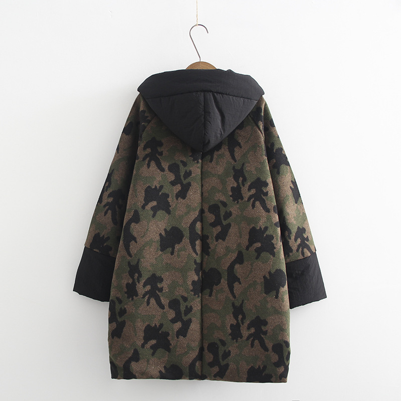 2017 New Women Camouflage Winter Warm Long Down Coat Plus Size 6XL Long Sleeve Overcoat Female Loose Hooded Jacket Cotton Coat 1