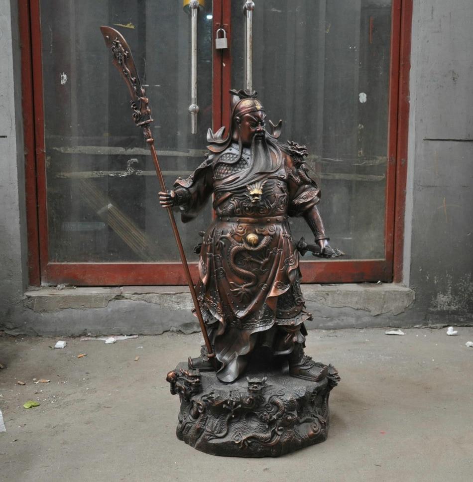 42 ''chine Bronze guerrier cuivre bouddha Sculpture Statue tenir épée 9 Dragons soldat jardin décoration 100% réel laiton