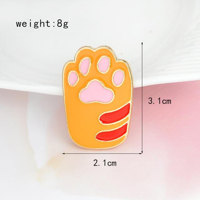 Cat Paw Hard Enamel Pin Yellow White Metal Animal Pet Brooch
