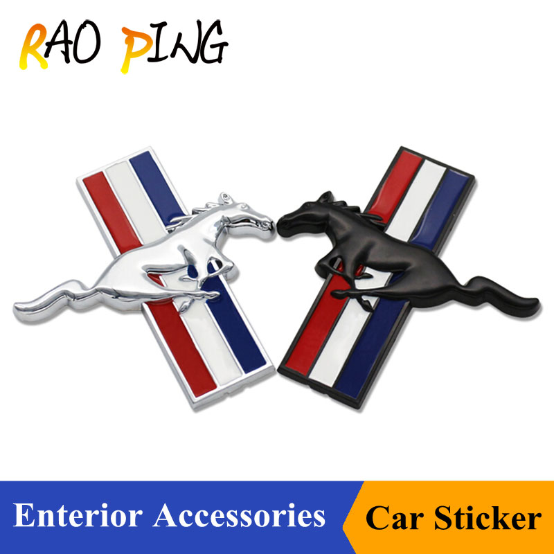 Raoping Fashion Car Styling Metal Stickers DIY 3D Car Sticker Funny For Ford Mustang Logo Accessories Sliver Black