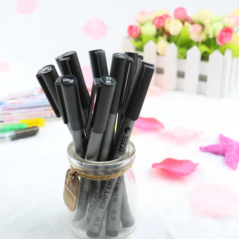 9 pcs/lot STA croquis marqueurs Art marqueur stylo différentes tailles de pointe Pigment Liner à base d'eau pour dessin écriture papeterie