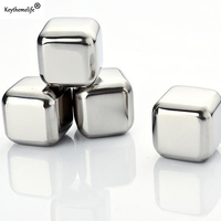 4Pcs Lot Whiskey Wine Beer Stones Stainless Steel Cooler Stone Whiskey Rock Ice Cube Edible Alcohol