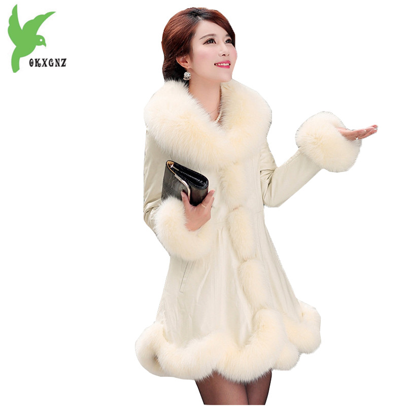 Boutique New Fashion Winter Women Artificial   Leather   Jacket Imitation Fox Fur Big Fur Collar Plus Size Temperament Coat OKXGNZ84