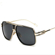 fc8584b89151 Men s Sun Glasses Brand Designer Male Driving Oversized 18K Gold Sunglasses  Women Shades Male Lunette De Soleil Flat Top
