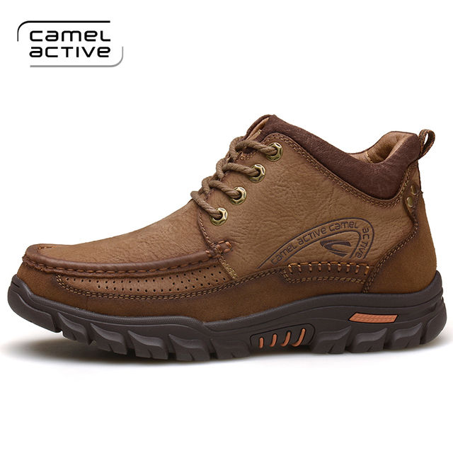 Camel Active New Arrival Men Outdoor Shoes Genuine Leather Waterproof Shoes  Breathable Warm Men Hiking Shoes