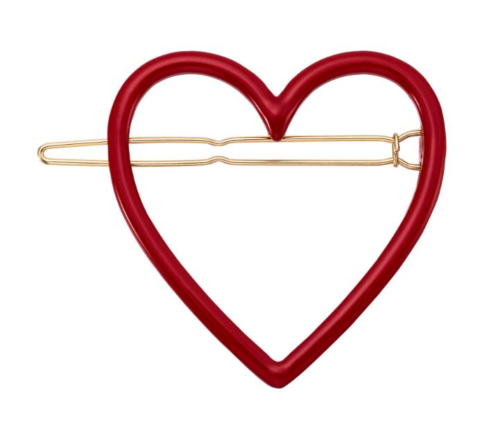 H36-075 Free Shipping 12pcs/Lot new design best selling gold large red and pink heart enamel hair clips