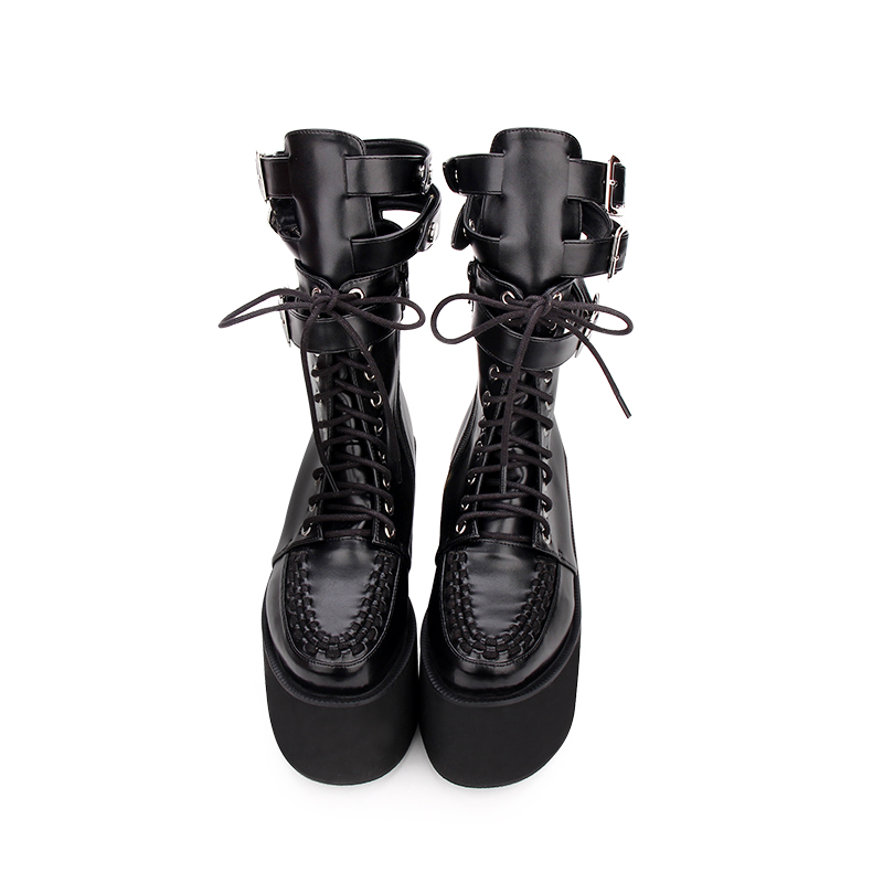 Angelic imprint PU Leather Round Toe Punk style Lolita boots   High Boots Stars Lolita Shoes size 35-43 918Angelic imprint PU Leather Round Toe Punk style Lolita boots   High Boots Stars Lolita Shoes size 35-43 918