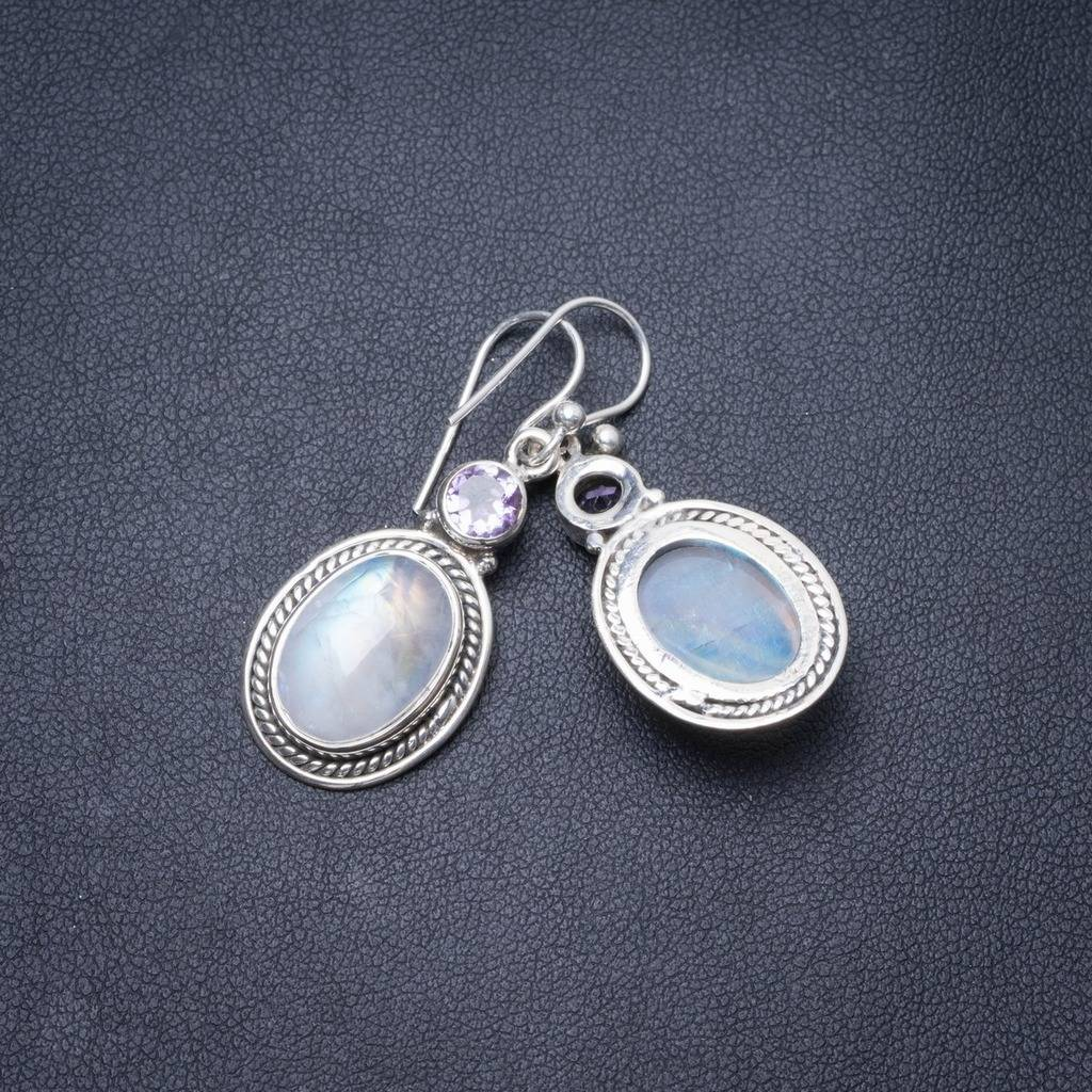 цены Natural Rainbow Moonstone and Amethyst Handmade Unique 925 Sterling Silver Earrings 1.5