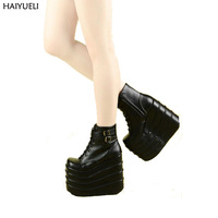 Womans Boots White Black Cosplay Boots Square Toe Wedges Platform Leather Ankle Boots Women Shoes High