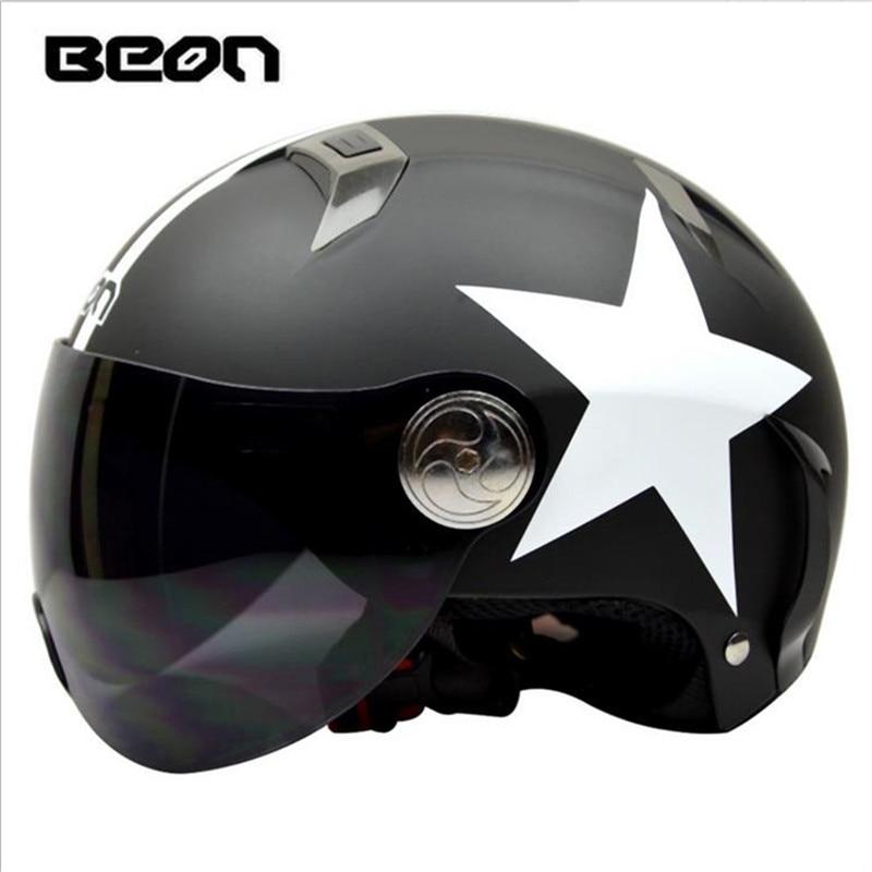 BEON Fashion Unisex Electric Car Scooter Helmet Summer Half Helmet Harley Matte black Helmet 102 w/ Windproof Visior