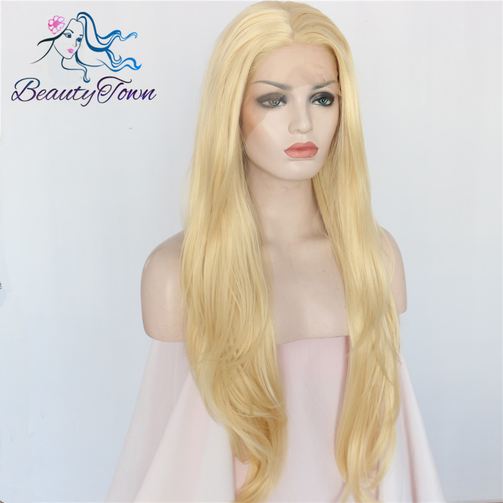 BeautyTown Gold Blonde Heat Resistant Hair Hand Tied Lace Part Cosplay Masquerade Synthetic Lace Front Party Wig For Women Daily-in Synthetic None-Lace  Wigs from Hair Extensions & Wigs    3