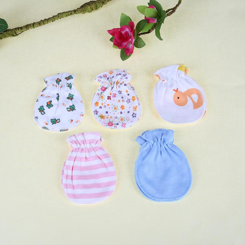 Lot 4pcs Soft Cotton Anti Scratch Mittens Gloves for Newborn Kid Baby Boys Girls