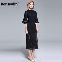 Borisovich Runway Dress New Brand 2018 Autumn Flare Sleeve Hollow Out Lace Luxury Elegant Women Evening Party Dresses M856