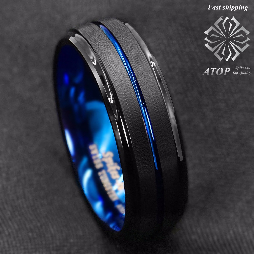 It is a picture of US $34.34 34MM Black Brushed Ladder Edge Tungsten Ring BLue Stripe ATOP Mens Wedding BandWedding Bands - AliExpress