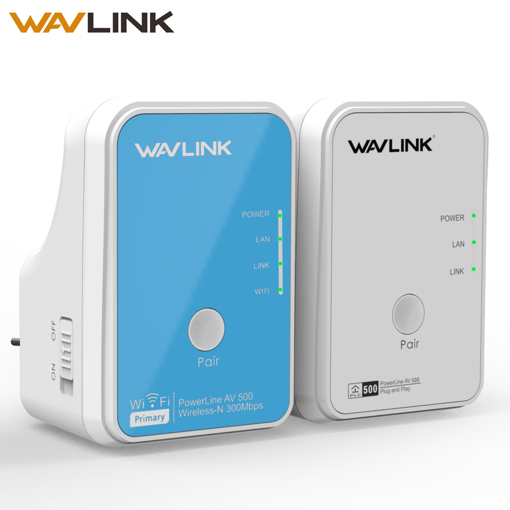 Wavlink 1Pair Wi-Fi Power Line Ethernet Extender Kit Adapter AV500 Mini PLC Adapter Homeplug Network Powerline Adapters 300Mbps