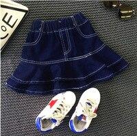 Yürümeye başlayan Çocuklar Kızlar Denim Etek çocuk Moda Ruffles A-line Giyim Bebek Kız Sonbahar Tutu Etek Çocuklar Kovboy Giyim 2-7Y