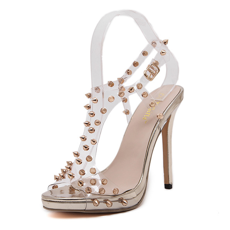New Style Hot Sales Women Sexy Transparent High Pumps Sandals Peep Top Open Toe Stilettos Ladies Fashion Rivets Party Thin Heels high quality new summer fashion hot women shoes thin high heels sexy party shining ladies peep toe metallic color pumps sandals