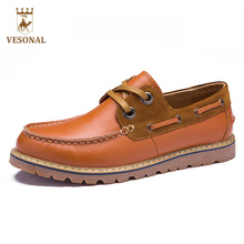 VESONAL Hot Sale 2017 Casual  Brand Men Shoes Male Adult Moccasins Genuine Leather Loafers Walking Driver Autumn Footwear Man