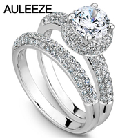Round Cut 1CT Moissanites Double Halo Wedding Sets Solid 14K White Gold Lab Grown Diamond Engagement Ring Bridal Fine Jewelry