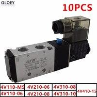 10 PCS Airtac Тип Электрический воздушные СОЛЕНОИДНЫЕ клапан 2 Позиция 5 Порты и разъёмы 4V110 210 310 410 M5 06 08 10 15 DC12 24 В переменного тока: 24 110 220 V Порты и р