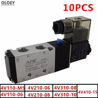 10PCS Airtac Type Electric Air Solenoid Valve 2Position 5Port 4V110 210 310 410 M5 06 08 10 15 DC12 24V AC:24 110 220V Port Size