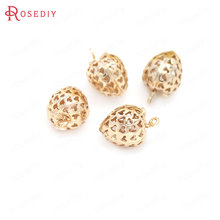 6PCS 12x17MM 24K Champagne Gold Color Plated Brass Strawberry Charms Pendants High Quality Diy Jewelry Accessories