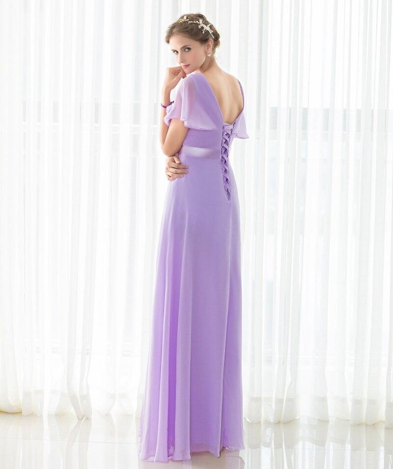 436e07ead Envío libre Elegante Luz Púrpura Damas de Honor Vestidos Largos Baratos  Vestidos de Fiesta Con Cuello En V Drapeado de Gasa vestidos de Fiesta En  Stock en ...