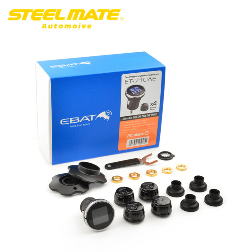 Steelmate 2017 ET-710AE TPMS tire Pressure Monitoring System Monitorwith 4 External Wireless Sensor Car Display LCD  steel mate chamsgend best seller free shipping new full set replacement spare parts for syma s107 rc helicopter red mar11 wholesale