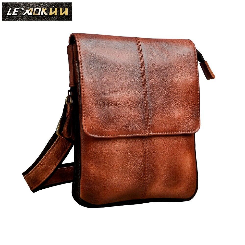 Genuine Leather Men Fashion Casual Small Messenger Shoulder Crossbody Bag Design Waist Belt Pack Waist Phone Pad Pouch 8713bu