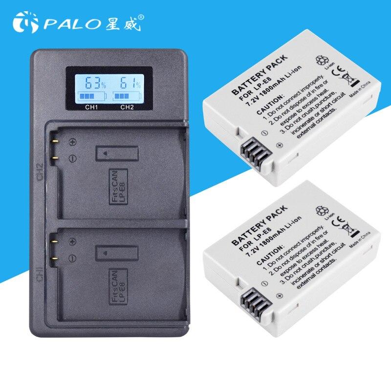 2 pc LP-E8 LPE8 LP E8 Caméra Batterie Bateria Batterie AKKU + LCD USB Chargeur Pour Canon EOS 550D 600D 650D 700D Rebelles X4 X5 X6i X7