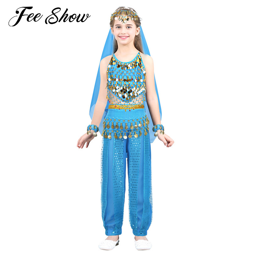 Fashion Kids Girls India Belly Dance Costumes Outfit Halter Top with Pants Headwear Halloween Bellydance Costume Party Dress Up индийский костюм для танцев девочек