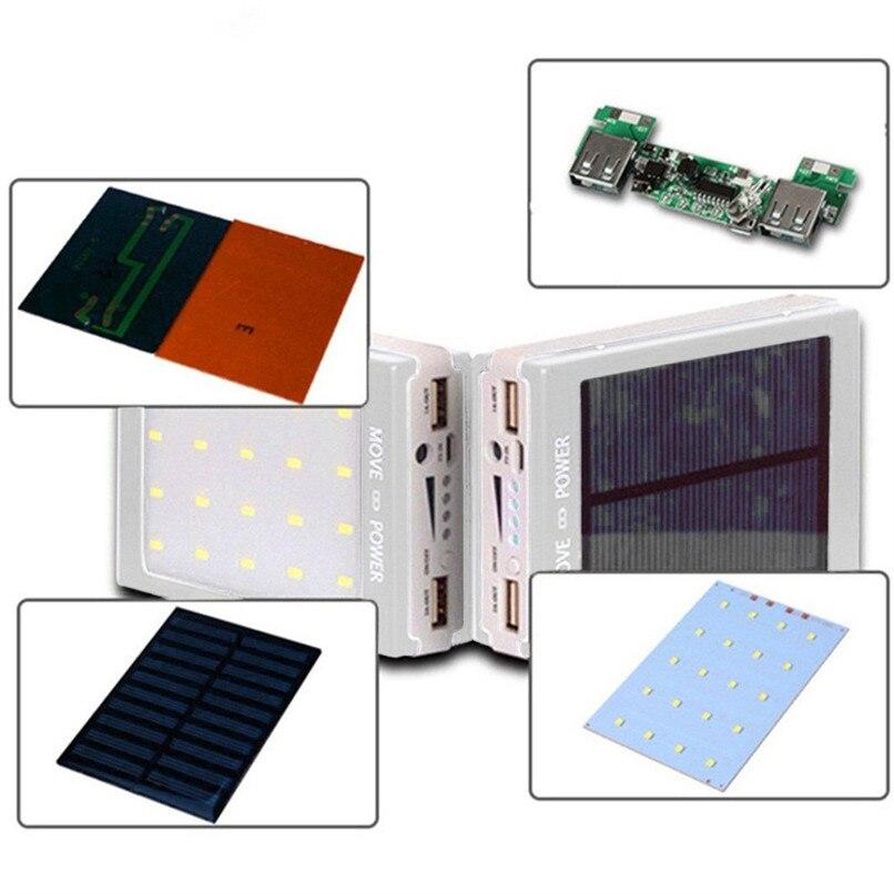 Solar LED Portable Dual USB Power Bank 5x18650 External Battery Charger DIY Box Case H7TY0