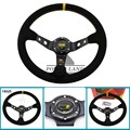 14inch 350mm Racing Car Styling Steering Wheel Suede Leather Deep Corn Drifting Steering Wheels Universal Fit