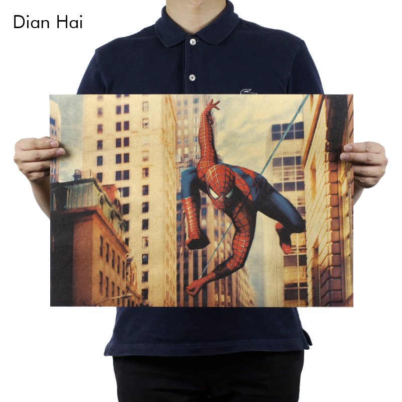 Vintage Comics American Superheroes Marvel Cute Spiderman Posters Retro Kraft Paper Home Decor Wall Sticker